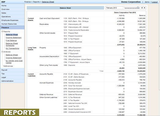 Standard accounting, payroll and other reports on the Business Information Portal